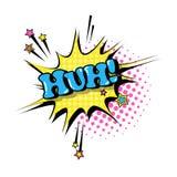 Icono cómico de Art Style Huh Expression Text del estallido de la burbuja de la charla del discurso Imagen de archivo libre de regalías