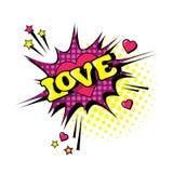 Icono cómico de Art Style Love Expression Text del estallido de la burbuja de la charla del discurso Foto de archivo