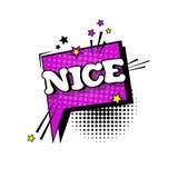 Icono cómico de Art Style Nice Expression Text del estallido de la burbuja de la charla del discurso Foto de archivo