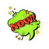 Icono cómico de Art Style Now Expression Text del estallido de la burbuja de la charla del discurso Imágenes de archivo libres de regalías