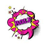 Icono cómico de Art Style Rolf Expression Text del estallido de la burbuja de la charla del discurso Fotos de archivo