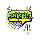 Icono cómico de Art Style Rrrh Expression Text del estallido de la burbuja de la charla del discurso Imágenes de archivo libres de regalías
