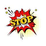 Icono cómico de Art Style Stop Expression Text del estallido de la burbuja de la charla del discurso Fotografía de archivo