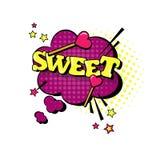 Icono cómico de Art Style Sweet Expression Text del estallido de la burbuja de la charla del discurso Imagen de archivo