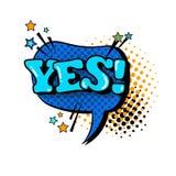 Icono cómico de Art Style Yes Expression Text del estallido de la burbuja de la charla del discurso Imagen de archivo
