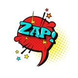 Icono cómico de Art Style Zap Expression Text del estallido de la burbuja de la charla del discurso Fotos de archivo