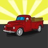 Icono cómico del ejemplo del vector del arte pop del estilo de la camioneta pickup retra vieja del granjero imagenes de archivo