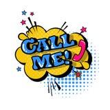 Icono cómico del texto de Art Style Call Me Expression del estallido de la burbuja de la charla del discurso Fotos de archivo libres de regalías