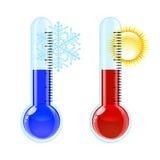 Icono caliente y frío del termómetro. ilustración del vector