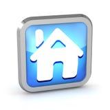 Icono casero azul del botón Imágenes de archivo libres de regalías