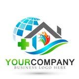 Icono casero cruzado médico del logotipo de la gente de la casa de la compañía de las propiedades inmobiliarias del globo del ext libre illustration