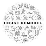 Icono casero de la construcción del infographics del círculo de la reparación La casa remodela la línea fina iconos del arte Ilus Foto de archivo libre de regalías