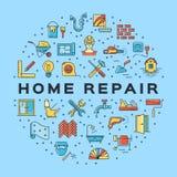 Icono casero de la construcción del infographics del círculo de la reparación La casa remodela la línea fina iconos del arte Vect Fotos de archivo libres de regalías