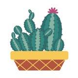 Icono casero del cactus stock de ilustración