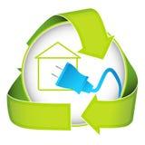 Icono casero verde de la electricidad Imagen de archivo