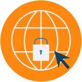 Icono cibernético del extracto de la protección de seguridad stock de ilustración