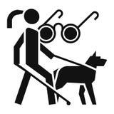 Icono ciego de la guía del perro de la mujer, estilo simple stock de ilustración