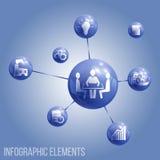 Icono circular de los elementos de Metaball de las esferas de cristal con los iconos integrados Fotos de archivo libres de regalías