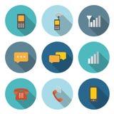 Icono circular para el concepto de la comunicación con el teléfono y el bubbl Imágenes de archivo libres de regalías