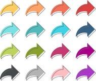 Icono coloreado de la flecha Foto de archivo