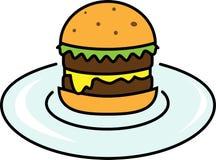 Icono coloreado de la hamburguesa con la ensalada con queso y la chuleta en una placa libre illustration