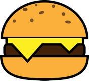Icono coloreado de la hamburguesa con queso y tajada stock de ilustración
