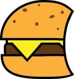 Icono coloreado de la hamburguesa con queso y tajada libre illustration