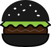 Icono coloreado de la hamburguesa negra con lechuga y la chuleta stock de ilustración