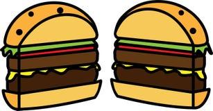 Icono coloreado de un corte de la hamburguesa por la mitad con la ensalada con queso y la chuleta libre illustration