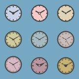 Icono coloreado del reloj fijado - ejemplo del vector libre illustration