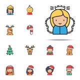 Icono coloreado la Navidad del ángel Sistema universal de los iconos de los avatares de la Navidad para la web y el móvil ilustración del vector