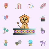 icono coloreado león del circo sistema universal de los iconos del circo para la web y el móvil libre illustration