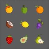 Icono colorido de la fruta fijado en Grey Background Imagen de archivo