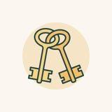 Icono colorido de las viejas llaves Foto de archivo libre de regalías
