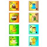 Icono colorido del café fijado en blanco Imagenes de archivo