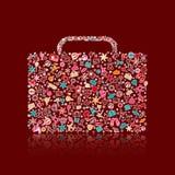 Icono colorido del equipaje compuesto de siluetas Imagenes de archivo