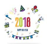 icono colorido del partido del garabato de la Feliz Año Nuevo 2018 en el fondo blanco Fotos de archivo libres de regalías