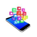 Icono colorido del uso en el smartphone, ejemplo del teléfono celular Foto de archivo