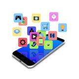 Icono colorido del uso en el smartphone, ejemplo del teléfono celular Fotografía de archivo libre de regalías