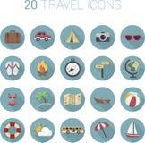 Icono colorido del viaje de la historieta fijado en círculos Imagenes de archivo