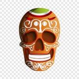 Icono colorido mexicano del cráneo, estilo de la historieta stock de ilustración