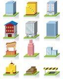 Icono comercial del edificio -- ilustración 3D stock de ilustración