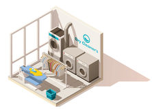 Icono comercial polivinílico bajo isométrico del lavadero del vector stock de ilustración