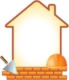 Icono con el casco, la paleta, los ladrillos y la casa Imagenes de archivo