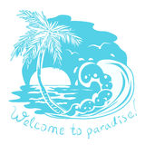Icono con el mar y la palmera. illust monocromático Fotos de archivo