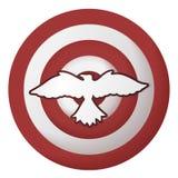 Icono con el pájaro en la blanco rayada stock de ilustración