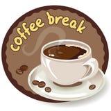 Icono con granos de café y una taza de café Imagen de archivo libre de regalías