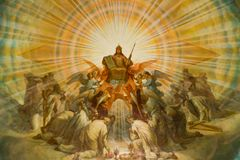 Icono con Jesús y los santos foto de archivo libre de regalías