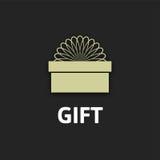 Icono con la cinta, diseño plano de la caja de regalo Imagenes de archivo
