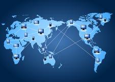 Icono con la línea vínculo en mapa del mundo Imágenes de archivo libres de regalías